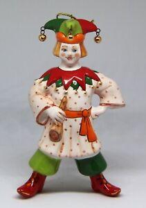 "Hand made, hand painted Christmas ornament / majolica figurine ""Harlequin"""