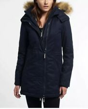 Womens Superdry Microfibre Tall Windparka Jacket Navy Size S