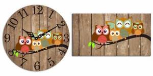 Vinatge Owl Wooden Wall Clock & Wall Mounted Key Holder Combo Set
