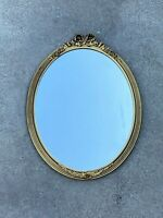 Vintage Antique Carved Wood Oval Wall Mirror / Antique Art Nouveau era