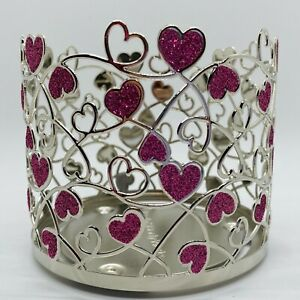 Bath & Body Works PINK HEARTS Valentine's Day Silver Holder 3 Wick Large Candle
