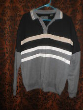 David Taylor, nice, handsome black w/gray casual pull over shirt, sz L