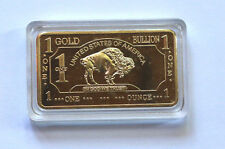 1(One) TROY OUNCE BAR Mint clad W/ REAL Pure 999 Fine Solid Gold coin g10gramaaa