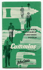"Vintage ""CUMMINS"" Sales Brochure: Portable Electric Tools - Drills, Saws, Etc"