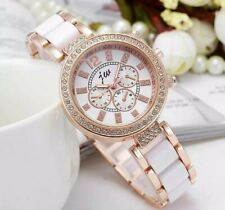 White Gold Chronograph Designer Style Ladies Watches Women Crystals Bling Watch