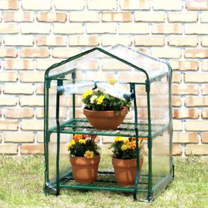Greenhouse Outdoor Garden Grow Bag Green House Shelves Cover Mini 2 Tier Tomato