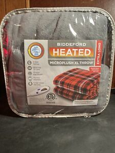 Xl Extra Long 50x72 Bddeford Heated Sweater Knit Sherpa Throw Blanket Controller