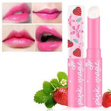 Cute Strawberry Lip Balm Magic Temperature Changing Color NEW Moisturizer Balm C