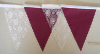 Burgundy & White Lace fabric bunting Wedding Party Decoration FLAGS 1mt or more