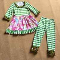 NEW Boutique Girls Green Striped Pink Floral Ruffle Tunic Dress Leggings Outfit