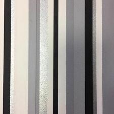 Barcode Striped Wallpaper Grey Black White Silver Metallic Textured Debona