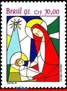 2343 BRAZIL 1991 CHRISTMAS, RELIGION, STAINED GLASS, MI# 2445 RHM C-1765, MNH