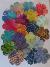 Batik Poppy flowers fabric scraps Pack remnants patchwork bundle 100%cotton