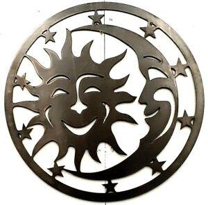 "New Wall Art Sun Moon Stars Large 18"" Premium Metal Sign Steel"