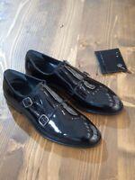Chaussures à double sangle en cuir verni noir véritable pour hommes faites à la