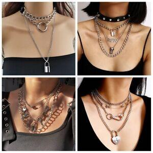 Chain Stainless Steel Rivet Choker Lock Pendant Punk Necklace Dark Gothic