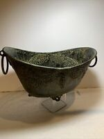 Vintage Verdigris Green Metal Footed Cache Flower Pot Jardiniere Rope Handles