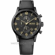 Hugo Boss Men's 44mm Chronograph Black Calfskin Mineral Glass Date Watch 1513274