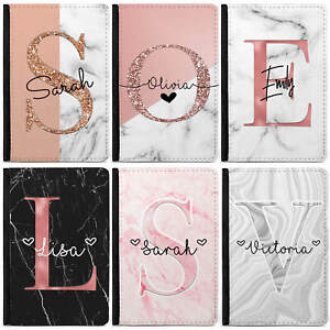 Personalised initials/Name Marble Passport Cover Holder Personalised Luggage Tag
