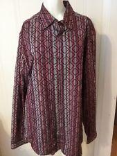 Men's JHANE BARNES Size Large Button Down Shirt Multi Color Textured Silk Blend