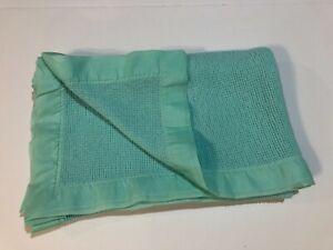 Vintage Green Thermal Acrylic Nylon Acrylic Trim Baby Blanket Waffle soft 45X36