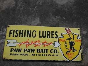 "Porcelain Fishing Lures Enamel Sign Size 20"" x 9 "" Inches"