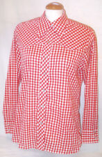Vtg 60s Womens Red Check Gingham Pearl Snap Western Shirt M 40 WRANGLER Cowgirl