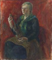 """Russischer Realist Expressionist Öl Leinwand """"Geigerin"""" 89x79 cm"""