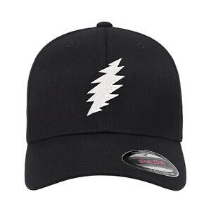 Grateful Dead SYF Bolt Embroidered Fitted Flexfit Hat Black Navy Olive Red