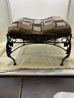 Footstool VINTAGE Upholstery Top- Metal Leaf Design Leg Footstool
