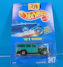 #234 HOT WHEELS 1991 COLLECTOR #217 40'S WOODIE NEW PAINT STYLE NEW ON CARD