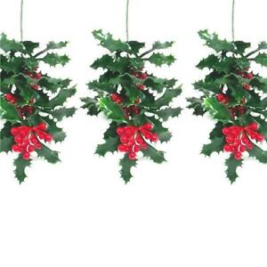 Pack of 3 Artificial Holly Bush Spray With Red Berries - Christmas Decorations