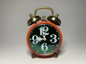 Vintage Blessing West Germany Alarm Clock Orange/ Green Face Wind Up Rare