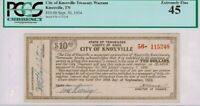 $10 1934 City Knoxville Tennessee Depression Scrip Treasury Warrant PCGS 45 XF