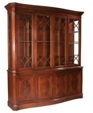 Sheraton style mahogany serpentine front breakfront bookcase with can. Lot 242