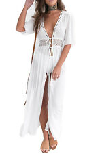 Women's Long Lace Trim Sheer Kimono Wrap Tie Front Duster Beach Cover Up
