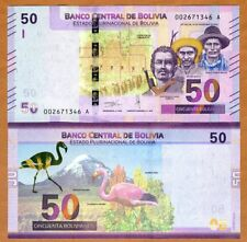 Bolivia, 50 Bolivianos, 2018 P-New, First redesign in 30 years, UNC > Flamingo