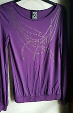 MANGO WOMEN'S RHINESTONE LONG SLEEVE SHIRT -PURPLE, SIZE Mediun