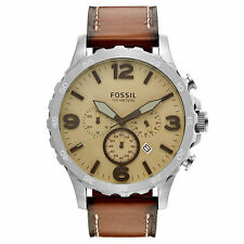 Fossil JR1503 Nate Beige Dial Brown Leather Strap Chronograph Men's Watch