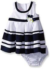 Bonnie Baby Baby Girls' Stripe & Daisy Party Dress, Navy, Size 18 M, MSRP $50