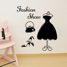 Fashion Show Dress Wall Sticker PVC Mural Decal Women's Wardrobe Bedroom Decor
