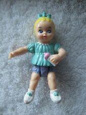 PLAYSKOOL Dollhouse BABY GIRL in GREEN with BOTTLE Nursery Blonde Infant w/ Bow