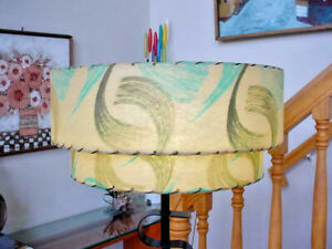 Matched Pair of Mid Century Modern Two Tier Fiberglass Lampshades