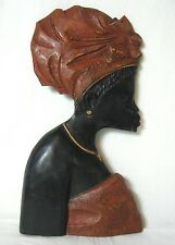 """Rare !!!  Wood Hand carved  African Tribal woman  Wall  Decor 18"""""""