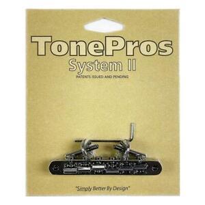 TonePros ABR1 Tune-O-Matic Bridge Un-Notched Saddles AVR2-B Black
