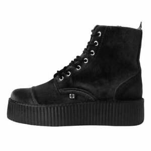 T.U.K. 7-Eye Black Velvet Viva Creeper Boot