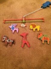 "Vintage Handpainted Mobiles by ""Irmi"" Safari Mobile Nursery Zoo Animals Colorful"