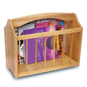 BAMBOO MAGAZINE RACK FREE STANDING MAIL NEWSPAPER HOLDER STORAGE SHELF STAND NEW