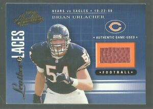 2001 LEATHER & LACES #LL17  BRIAN URLACHER  HOF FOOTBALL PATCH  NM/MT MT 416/550