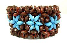 "1.2"" Flower Pattern Coconut Wood Beads Stretch bracelet 6""-8"" adjustable ; BA204"